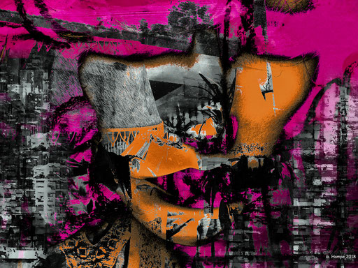 The abstract face in the city