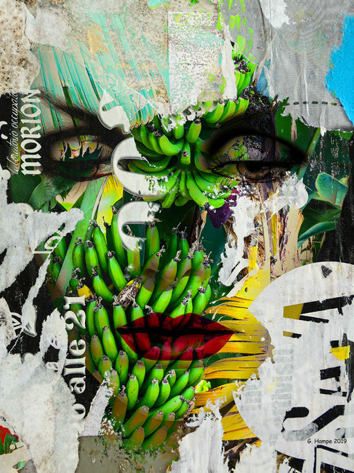 The face and green bananas