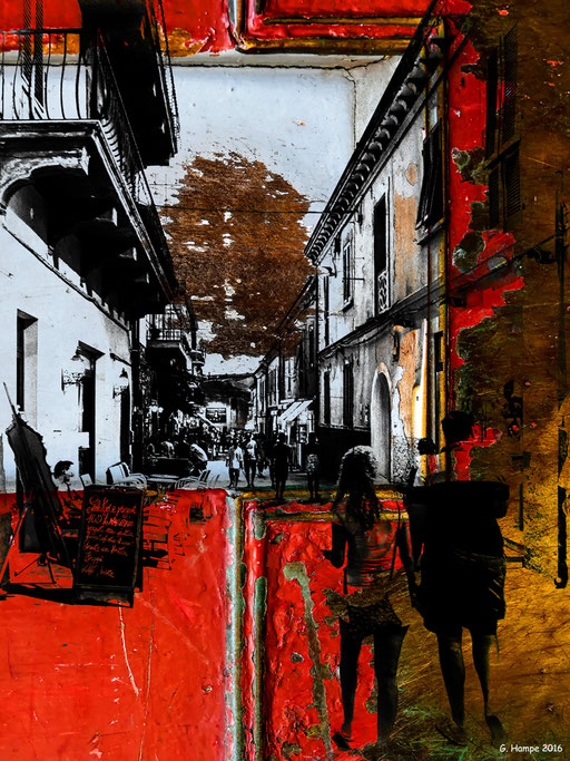 Walking people passing an italian alley