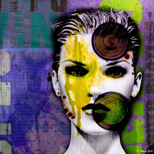 The woman with the yellow spot