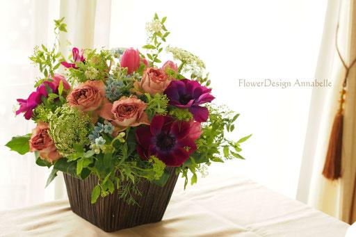 パリスタイル ご結婚記念日の花 フラワーアレンジメント FlowerDesign Annabelle