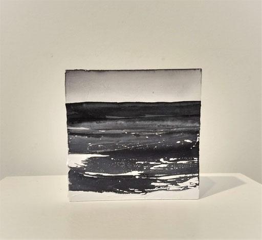 'Promenade' no.10 / aquarelle, mixedmedia on prepared blok of wood / 9x9 cm