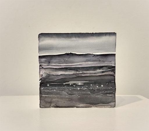 'Promenade' no.5 / aquarelle, mixedmedia on prepared blok of wood / 9x9 cm