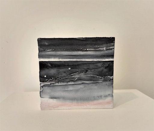 'Promenade' no.3 / aquarelle, mixedmedia on prepared blok of wood / 9x9 cm