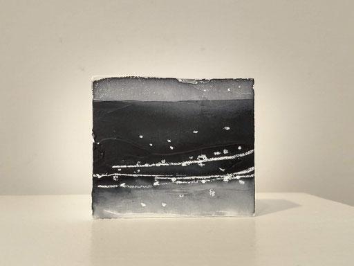 'Promenade' no.7 / aquarelle, mixedmedia on prepared blok of wood / 8x6.7 cm