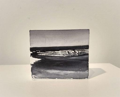 'Promenade' no.15 / aquarelle, mixedmedia on prepared blok of wood / 8x6.7 cm