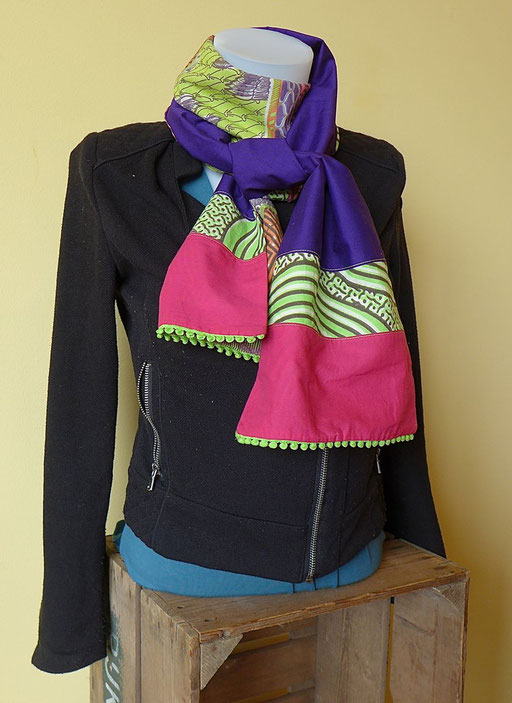 Foulard femme Wax africain rose violet vert | Une Embellie