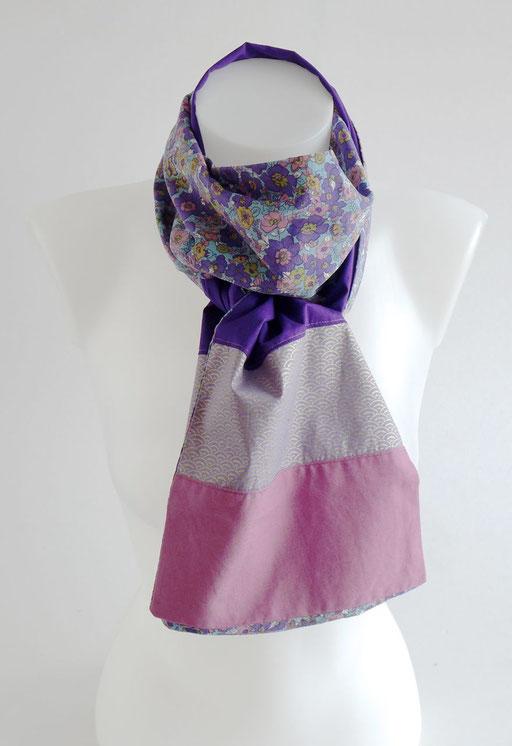 Foulard japoanais rose violet fleur | Une Embellie