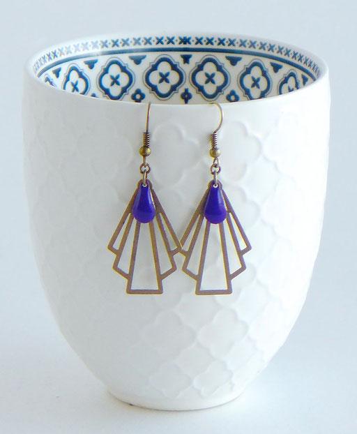 Boucles d'oreilles Eventail Art Déc Bronze Violet    Une Embellie