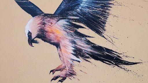 "<alt=""art streetart facade peinture murale décoration intérieur extérieur artiste france french artist urbaan art urbain graffiti art passy alpes haute-savoie gypaete barbu oiseau bird painting nature animal"">"