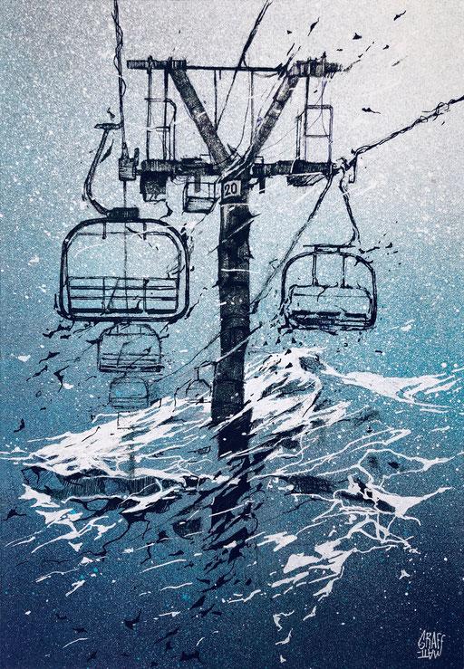 """<alt=""""dessin confinement art pandémie station de ski sport d'hiver montagne ski télé-siège remontés mécaniques coronavirus covid_19 crise sanitaire neige savoie haute-savoie france 2020 tourisme impacté virus"""">"""
