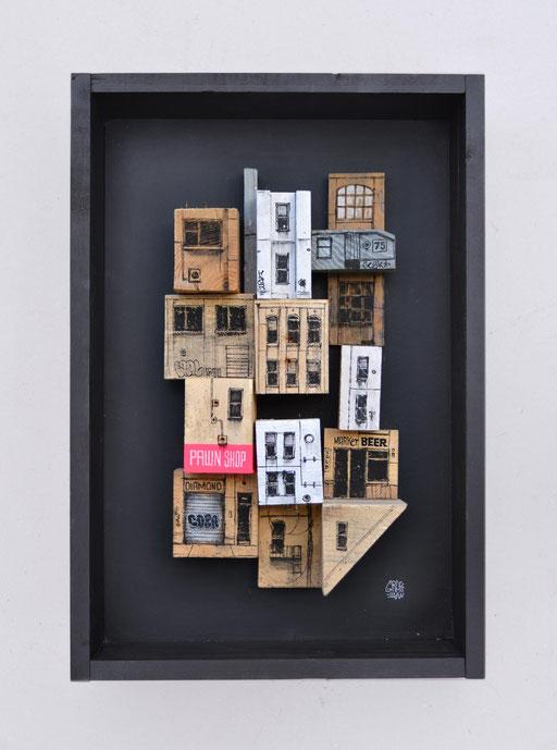 """<alt=""""artiste peintre savoie chambéry cityscape graffmatt ville art sur bois palette récupération artiste artistic wooden pallet streetart contemporain paysage urbain building original contemporary art"""">"""