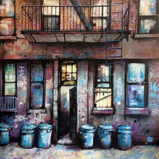 """<alt=""""artiste peintre savoie chambéry portrait paysage urbain scènes urbaines art contemporain urbain techniques mixtes flexible achat œuvre sur commande original ville new-york city painting street facade newyork scene urbaine contemporary art>"""