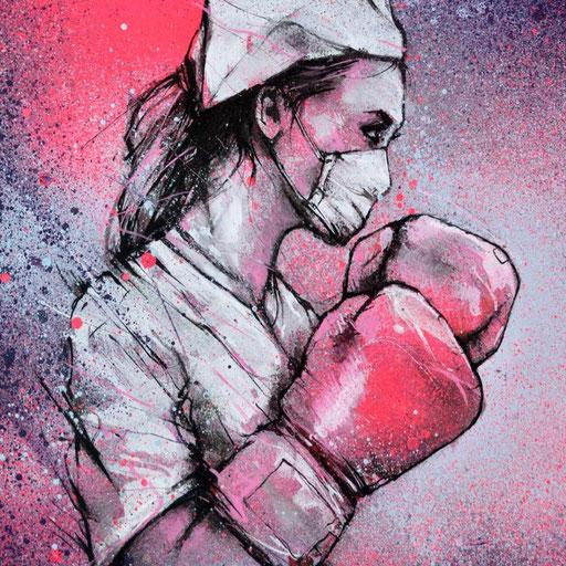 """<alt=""""dessin infirmière boxe gants de boxe coronavirus covi_19 corona art graffmatt artiste france dernier round combat virus illustration streetart peinture don d'œuvre aide au profit du fond d'urgence des hôpitaux AP-HP paris projet Saato"""">"""