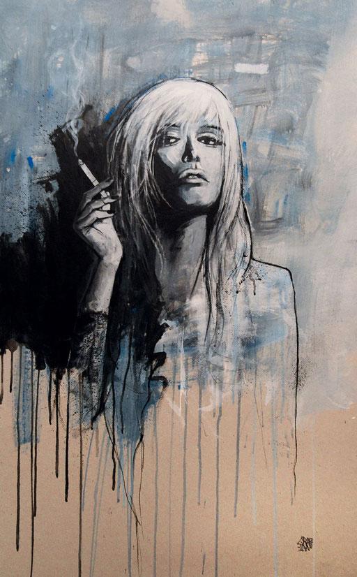 """<b>FEMME A LA CIGARETTE</b><br>100 x 62 cm<br><a style=""""color:#db6464;"""">VENDU</a>"""