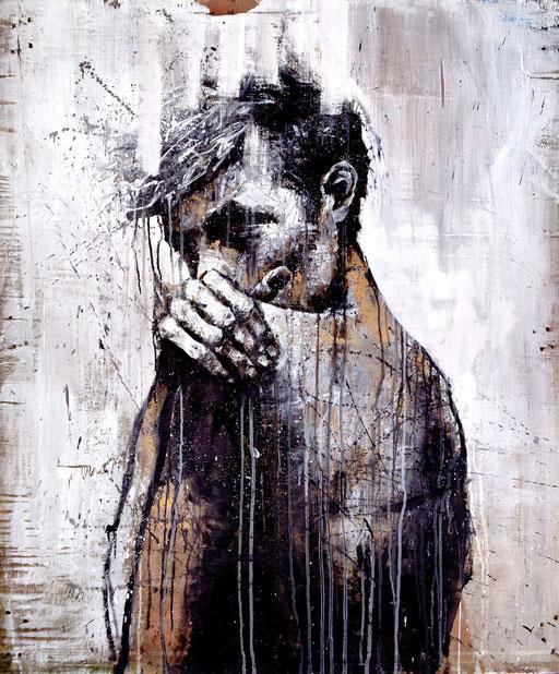 """<alt=""""artiste peintre savoie chambéry portrait homme art sur bois palette récupération artiste contemporain urbain techniques mixtes flexible achat œuvre sur commande original contemporary art>"""