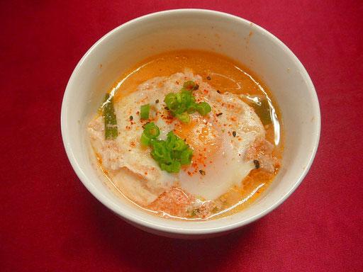 #豆腐のチゲ #豚肉 #長ネギ #豆腐 #明太子を鍋に入れ煮込み #ニンニクを少々入れて味を調えます  #ニンニク風味をつけます