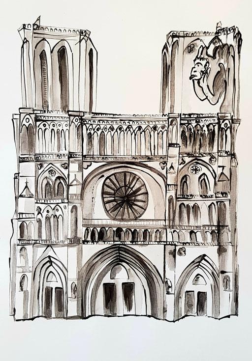 Au fil des siècles Notre dame de Paris 42x 39,5-encres de chine
