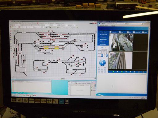 Das Gleisbild (links) und die Kameraüberwachung der Schattenbahnhöfe (rechts)