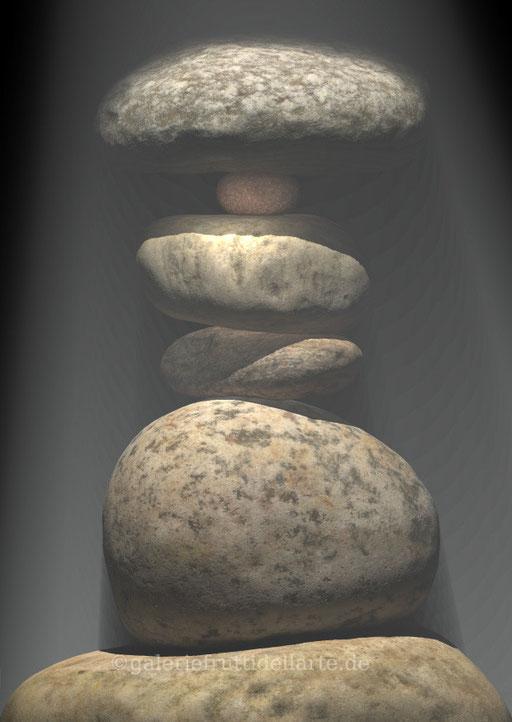 Steine, Steintürme, Steinbilder des Künstlers Marcue Löhrer auf der Aachener Kunstroute 2016