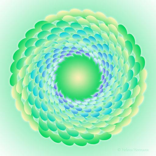 "Mandala ""Grüner Wirbel"", Computergrafik, 2009"