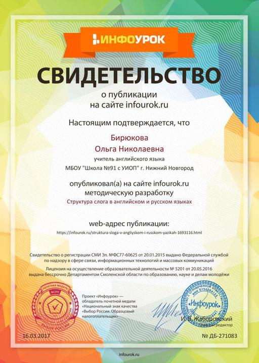 """Методическая разработка """"Структура слога в английском и русском языках"""""""