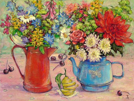 цветочный чай с лимоном, 32х27, акр.,орг.