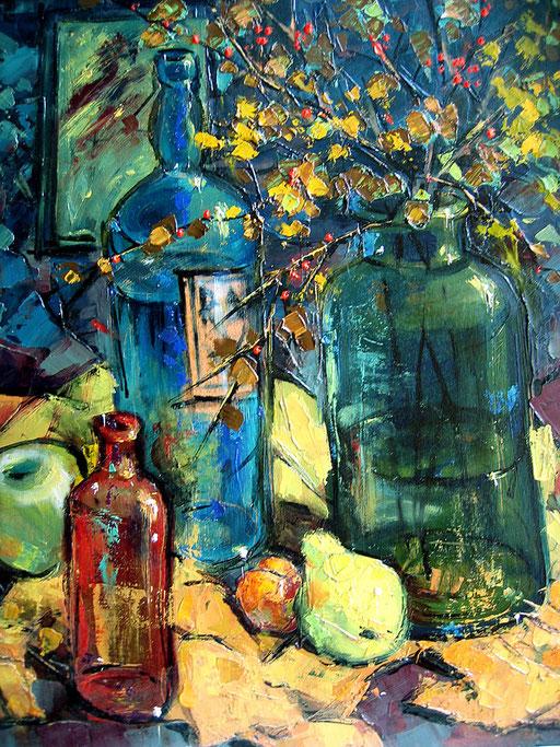 красная бутылочка , х.,м.,40х50