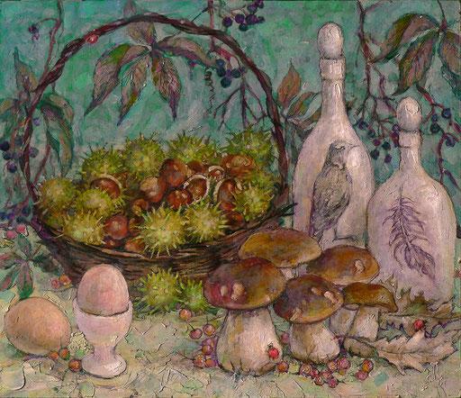 лесной натюрморт , 35х40  ,акр.,орг