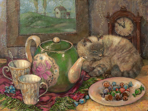 чай с конфетками акрл.,м.,орг., 39х28