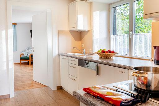 Küche mit Geschirrspüler und Blick ins Grüne