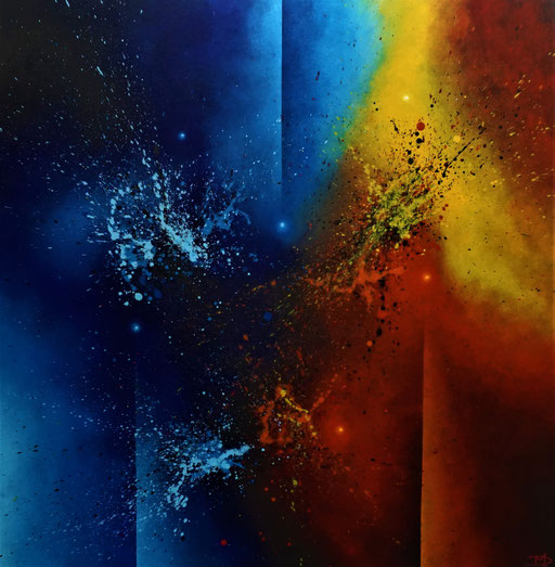 Abstract 5 (2021, Acryl auf Leinwand, 100x100cm)
