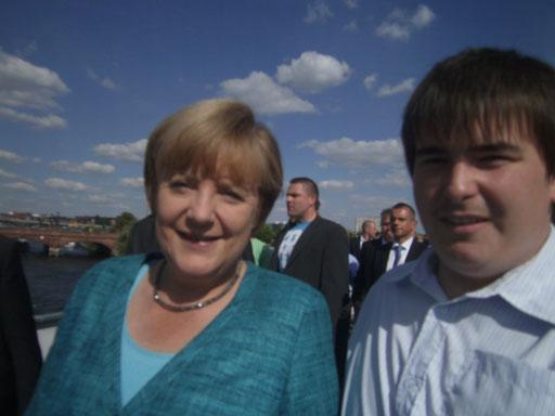 Patrick Oehm, Mit Bundeskanzlerin Angela Merkel    Foto 2013