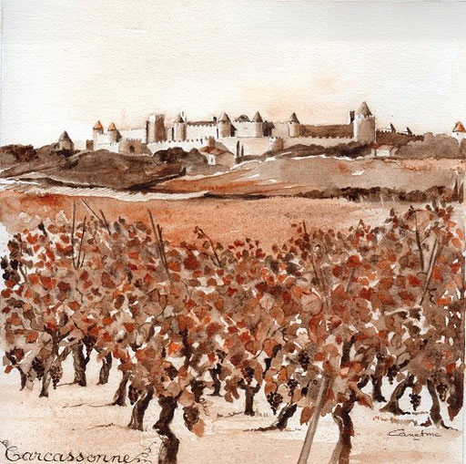 """Carcassonne et vignes  Projet """"Calina"""" collection privé e(2015)"""