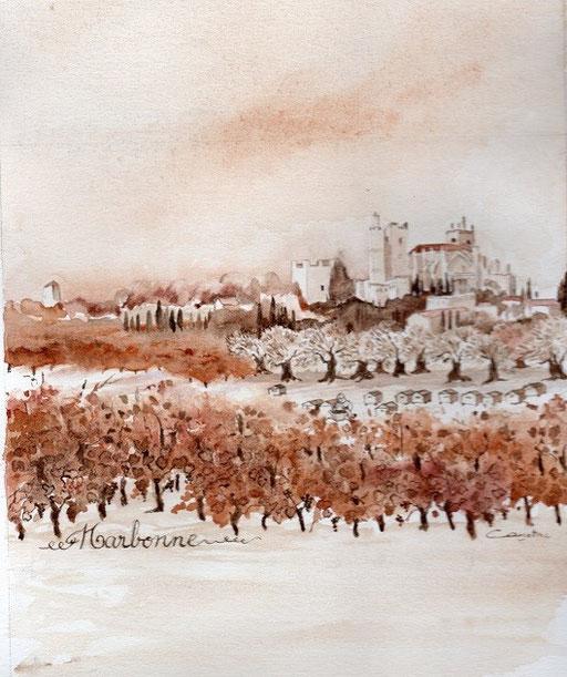 "Narbonne ,vignes, oliviers et ruches Projet ""Calina"" collection privée(2015)"