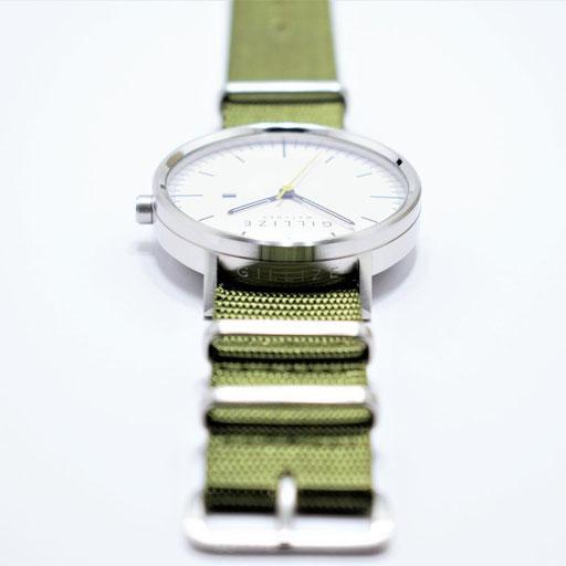 MENO -white- (Strap: Olive-green)