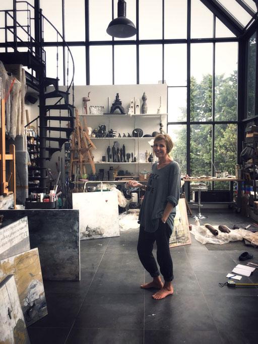 Ateliers d'artistes. L'atelier de Sophie Hustin. Galerie Gabel. Biot. France