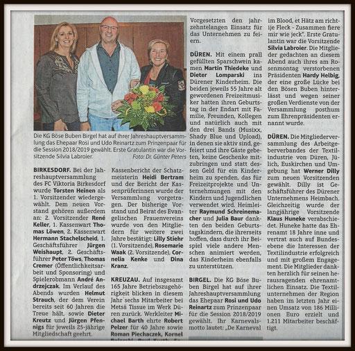 Presseartikel nach der Tollitätenwahl im April 2018