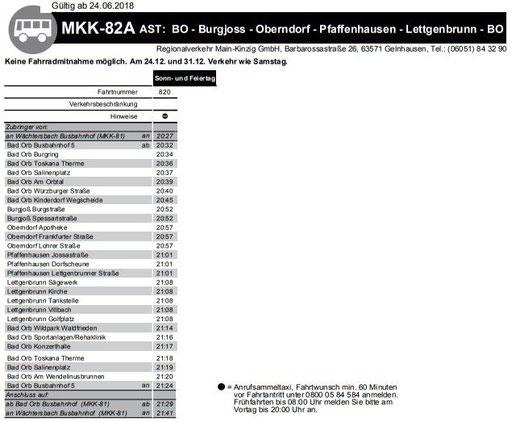 MKK-82A - Bad Orb - Burgjoß - Oberndorf - Pfaffenhausen - Lettgenbrunn - Bad Orb