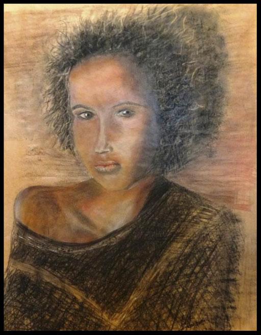 Fusain , crayon, pastel craie  sur papier  kraft 58 x  75    200€