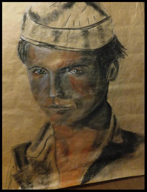 Garçon Afghan . Fusain , crayon, pastel , craie sur papier  kraft 58 / x 75