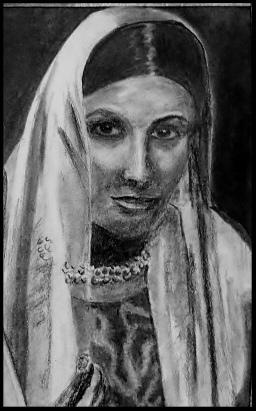 Asmita, craie , fusain sur papier  14 x21   80 € (cadre bois noir laqué, passe-partout)