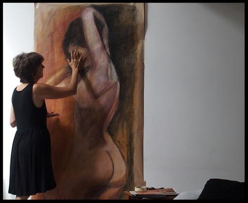 NU,  pastel sur kraft, 180 x 80