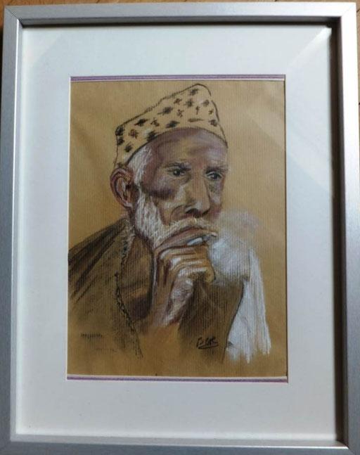 Homme pensant. Népal.  Fusain , pastel et craie.  21 x 29,7                          100€