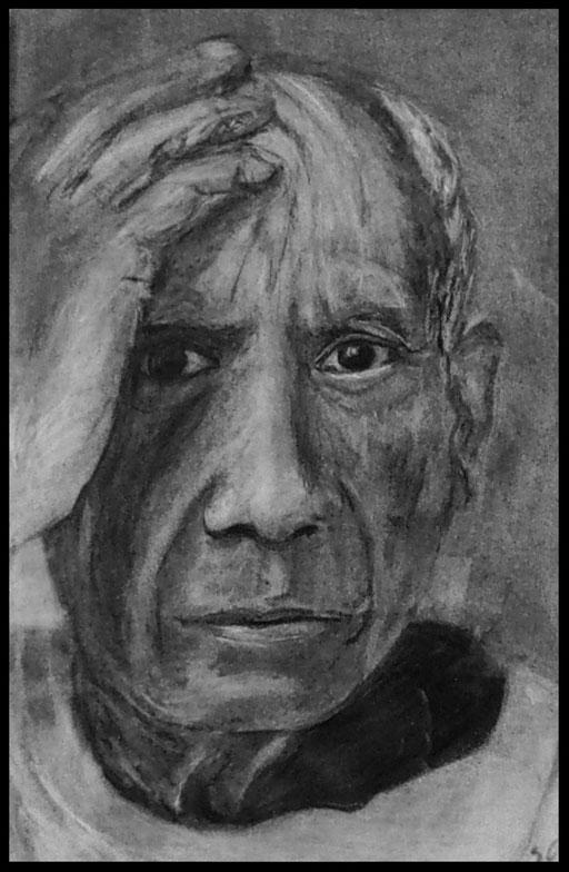 Pablo;  craie , fusain sur papier  14 x21  60 € (cadre bois noir laqué  , passe-partout)