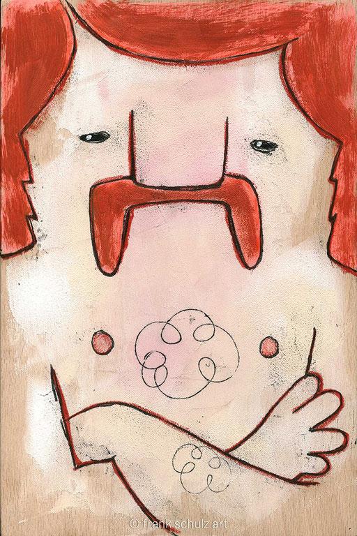 Acryl auf Holz, Manni, von Frank Schulz Art