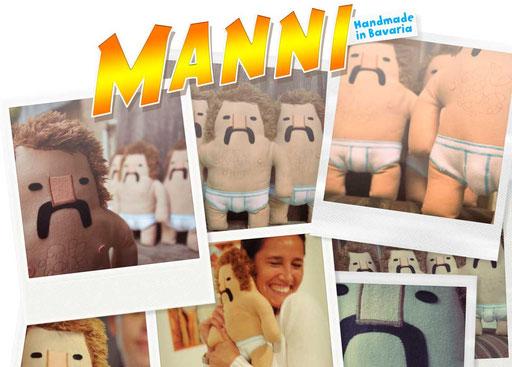 Designer Toy Manni, die Plüschfigur mit Schnauzbart und Feinrippunterhose von Frank Schulz Art ist schwer beliebt bei den Damen, Handmade in Bavaria