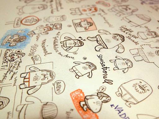 Skizzen für Designer Toy Manni, die Plüschfigur mit Schnauzbart und Feinrippunterhose von Frank Schulz Art, Handmade in Bavaria