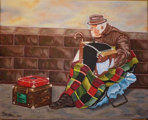 Der Musikant nach einem unbekannten Künstler; 40x 50cm; Acryl auf Leinwand
