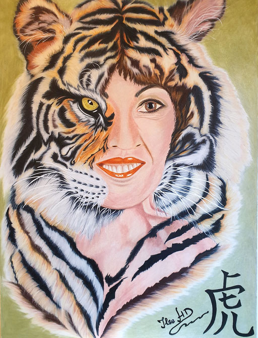 Selbstportrait in assoziation mit meinem Sternzeichen dem Tiger; 56x 42cm; Prismacolor premier auf Aquarellkarton